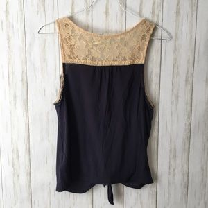 Urban Outfitters Tops - kimchi blue navy tan lace shoulder knottd tank top